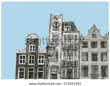 Amsterdam house drawing - stock vector