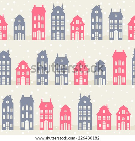 Amsterdam houses silhouettes in winter. Vector seamless pattern - stock vector