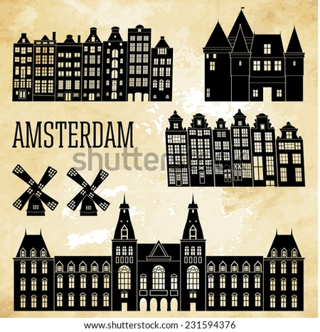 amsterdam landmarks and monuments. Vector illustration  - stock vector