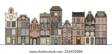Amsterdam narrow houses standing in a row isolated on white. Cartoon style vector illustration.