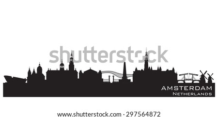 Amsterdam Netherlands skyline Detailed vector silhouette - stock vector