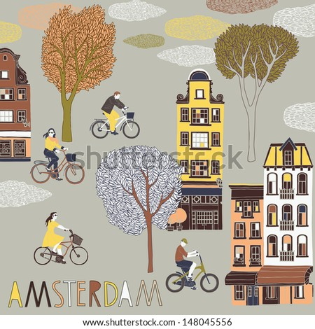 Amsterdam Print Design - stock vector