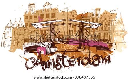Amsterdam Sketch - stock vector