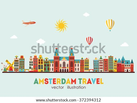 Amsterdam skyline. Vector illustration - stock vector