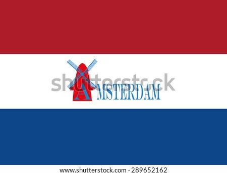 Amsterdam, windmill, destination, travel, city scape, typography - stock vector