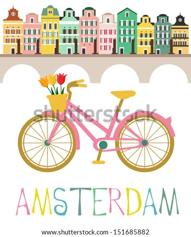 Amsterdam with love - stock vector