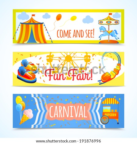 Amusement entertainment carnival theme park fun fair horizontal banners isolated vector illustration - stock vector