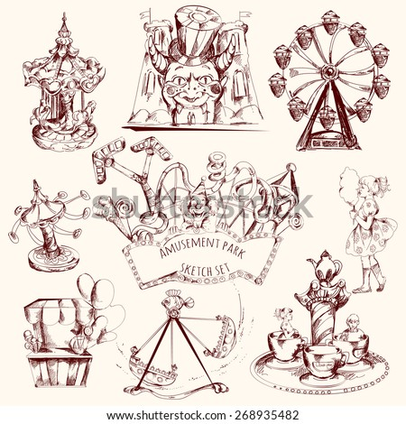 Amusement park carnival attractions sketch decorative icons set isolated vector illustration - stock vector