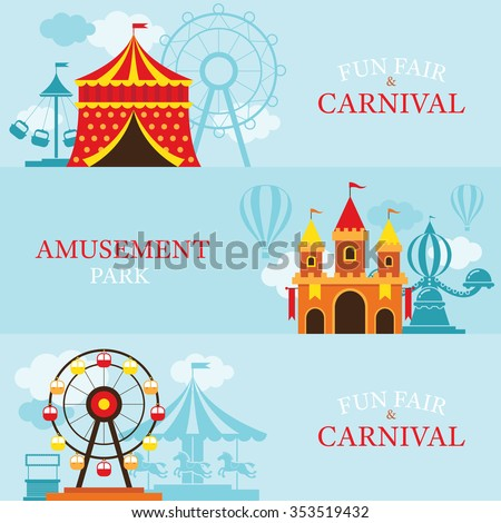 Amusement Park, Carnival, Fun Fair, Banner, Theme Park, Circus, Day Scene - stock vector