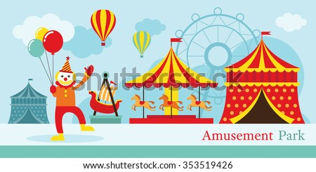 Amusement Park, Circus, Clown, Carnival, Fun Fair, Theme Park, Day Scene - stock vector