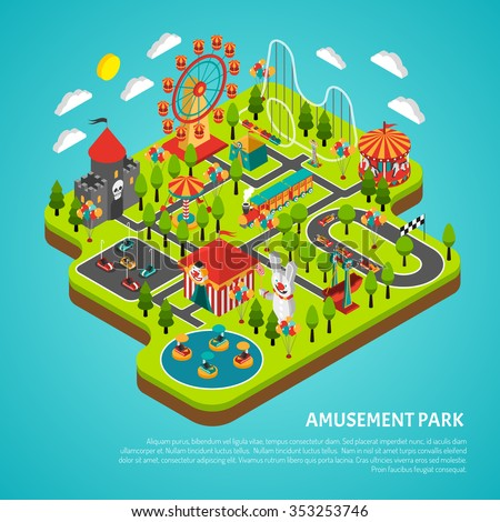 Amusement park fairground with big ferris observation wheel and bumper cars attractions isometric colorful banner vector illustration  - stock vector