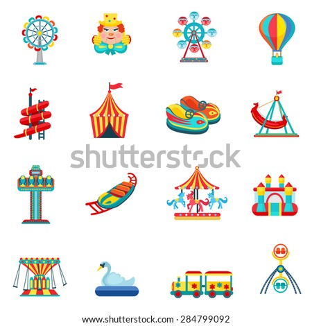 Amusement park for children with attractions and fun icons set flat isolated vector illustration  - stock vector