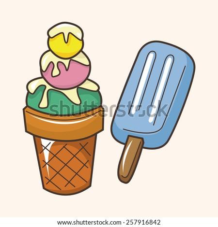Amusement park ice cream theme elements - stock vector