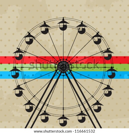 Amusement park icon, ferris wheel silhouette - stock vector