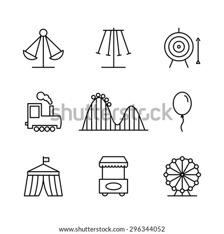 Amusement park icons in thin line style. Rollercoaster and balloon, tent and arrow, festival and target. Vector illustration - stock vector