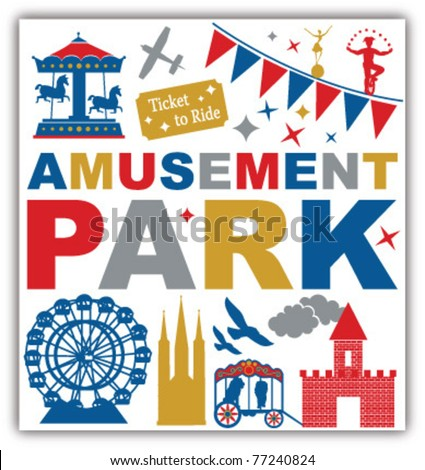 AMUSEMENT PARK ICONS SYMBOLS AND GRAPHIC ELEMENTS. Vector illustration file. - stock vector
