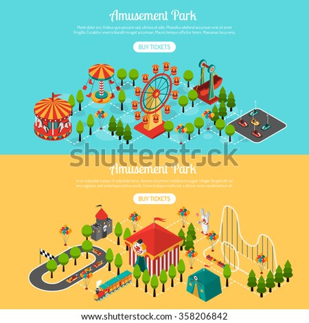 Amusement park 2 isometric interactive horizontal banners set with buy tickets online button abstract isolated vector illustration - stock vector