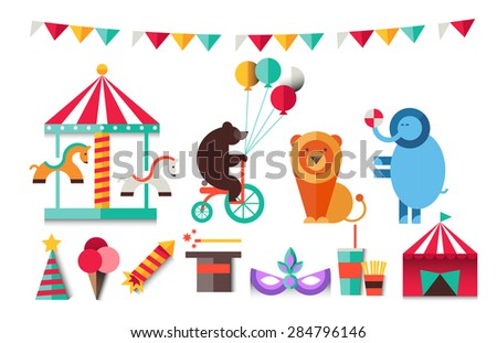 Amusement park landscapes, roller coasters, balloon, bear, lion,elephant, carousel horse, magic hat. Vacation. Vector flat  illustrations. ?ircus. Holiday.Attractions. The graphics for games - stock vector