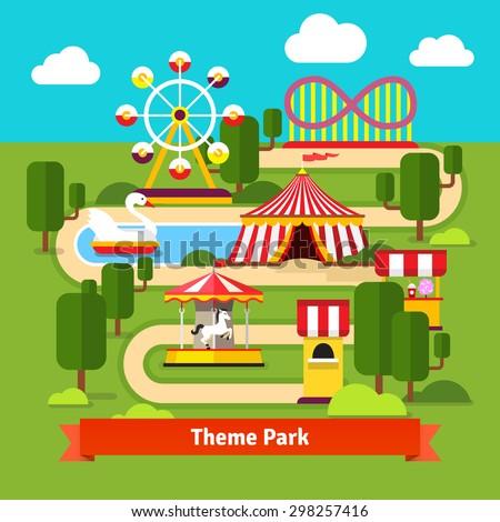 Amusement park map, ferris wheel, roller coaster, carnival tent, carousel and ticket booth. Flat vector cartoon illustration. - stock vector