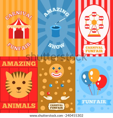 Amusement park mini poster set with carnival funfair amazing show animals isolated vector illustration - stock vector
