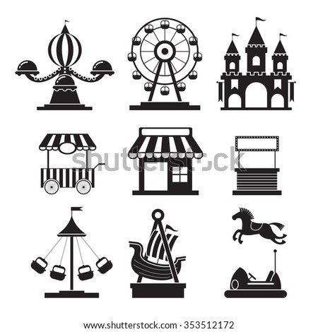 Amusement Park Objects Icons Mono Set, Theme Park, Carnival, Fun Fair, Circus - stock vector