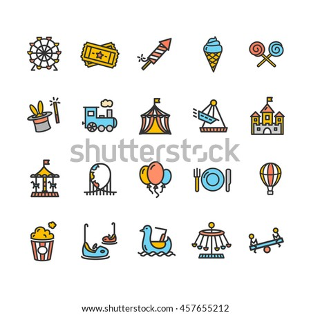 Amusement Park Outline Colorful Icon Set Isolated on White Background. Vector illustration - stock vector