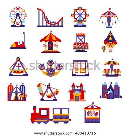 Amusement Park  Primitive Colorful Style Flat Isolated Vector Icons Set On White Backgroun - stock vector