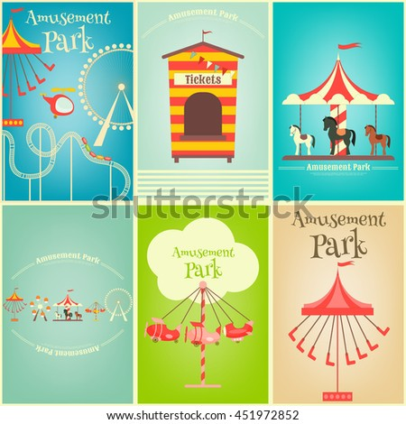 Amusement Park. Summer Holiday Card with Fairground Elements. Mini Posters Set. Vector Illustration. - stock vector