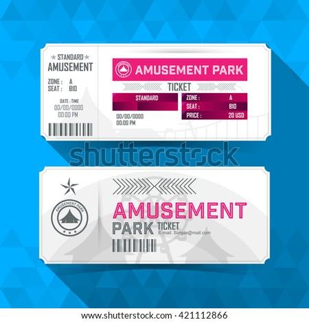 Amusement park Ticket Card. Vintage Element Design. Vector illustration. - stock vector