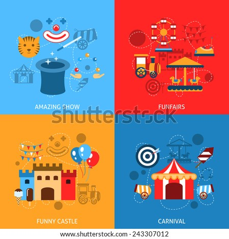 Amusements park flat icons set with amazing show funfairs funny castle carnival isolated vector illustration - stock vector
