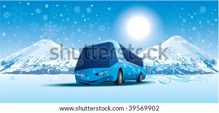 amusing bus in mountains by a winter morning - stock vector