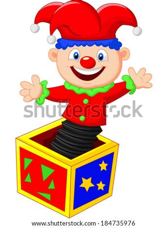 Amusing toy jumping out from a box - stock vector