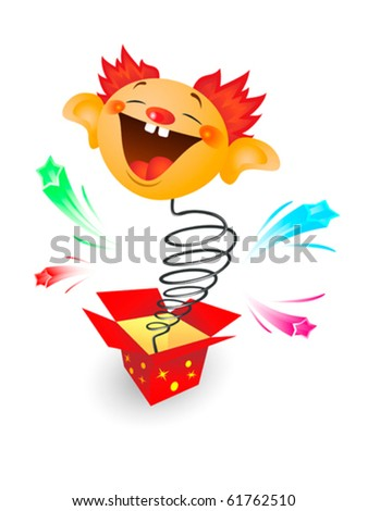 Amusing toy jumping out on a spring from a box - stock vector