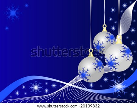 An abstract Christmas vector illustration with silver baubles on a darker blue backdrop with white snowflakes and room for text