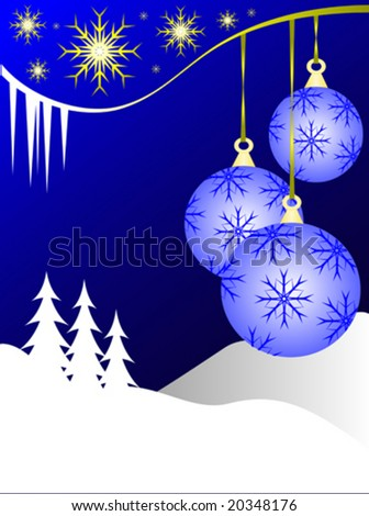 An abstract Christmas vector illustration with  sky blue baubles on a darker backdrop with a white winter scene and room for text