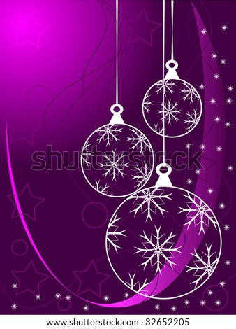 An abstract Christmas vector illustration with white outline baubles on a purle backdrop with white snowflakes and room for text - stock vector