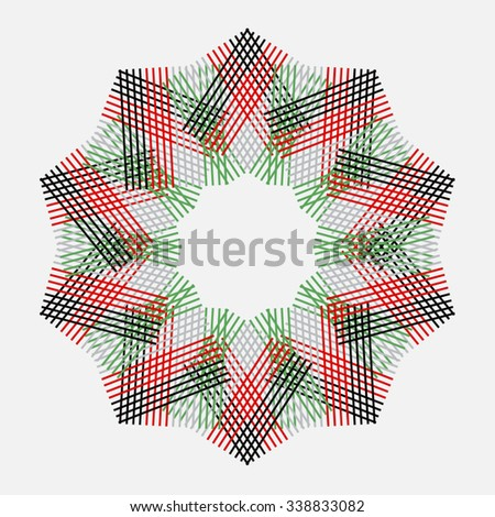 An abstract circular pattern or badge made UAE national flag colors.  - stock vector