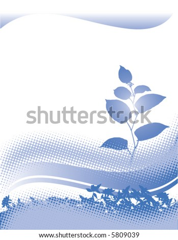 An abstract floral grunge background in blue - stock vector
