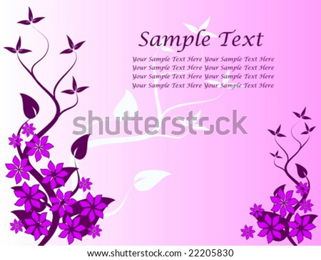 An abstract floral vector design with a stylized tree on the left with room for text
