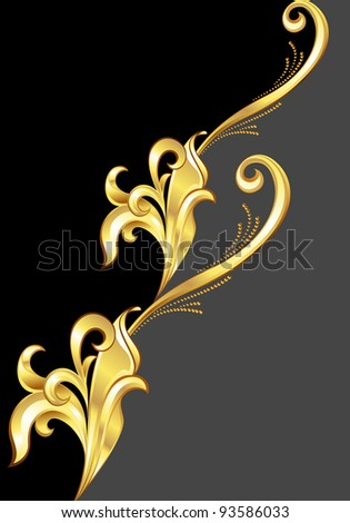 An abstract gold pattern.  Illustration on black background for design