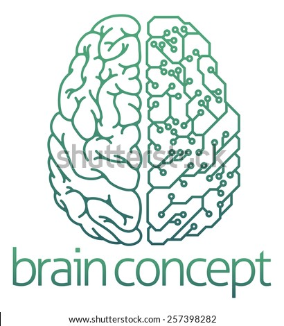 An abstract illustration of a brain half electrical circuit board concept design - stock vector