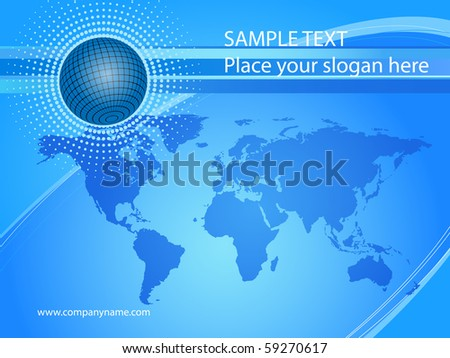 An abstract image of a globe and a map of the world.EPS 10 - stock vector