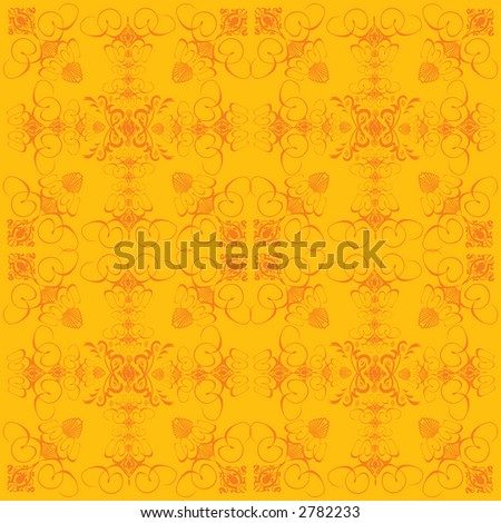 An abstract old fashion wallpaper design in yellow and orange - stock vector