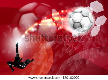 An abstract red soccer sport background with detailed silhouette of a soccer player kicking a soccer ball, smashing it through an abstract goal net - stock vector