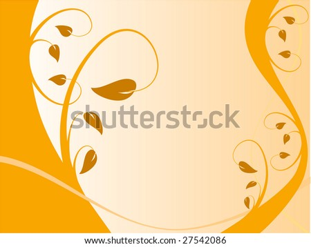 An abstract vector illustration in landscape orientation with a floral design in shades of orange on a lighter graduated base with room for text - stock vector