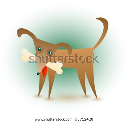 An abstract vector illustration of a cute brown dog with a bone in his mouth. - stock vector