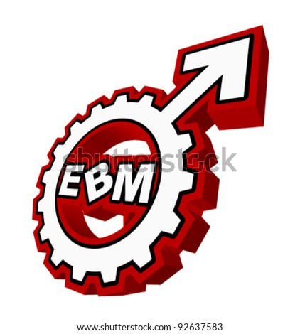 "An abstract vector illustration of a mars symbol gear with the text ""EBM"" inside."