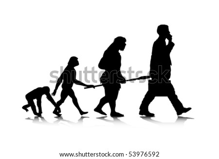 An abstract vector illustration of human evolution. - stock vector