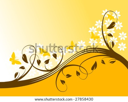 An abstract vector illustration with a floral design in shades of orange on a lighter graduated base with room for text - stock vector
