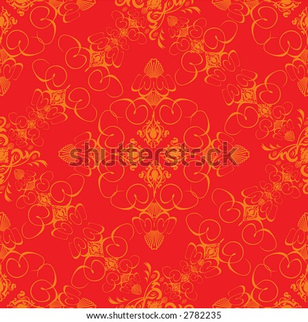 An abstract wallpaper design done in the old fashioned style in red and orange - stock vector